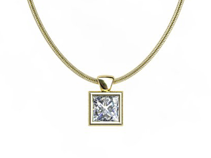 Yellow Gold bezel Pendant and Chain PPBY01
