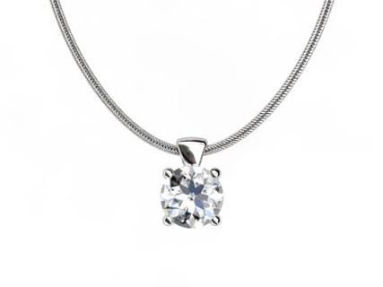 round diamond pendant four prong PRCP01 on chain view